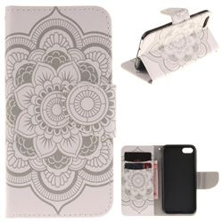 White Flowers PU Leather Wallet Case for iPhone 7 7G(4.7 inch)