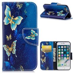 Golden Butterflies Leather Wallet Case for iPhone 7 7G(4.7 inch)