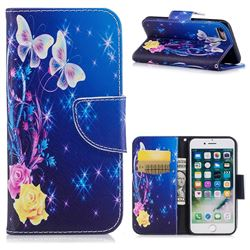 Yellow Flower Butterfly Leather Wallet Case for iPhone 7 7G(4.7 inch)