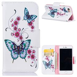 Peach Butterfly Leather Wallet Case for iPhone 7 7G(4.7 inch)