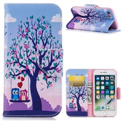 Tree and Owls Leather Wallet Case for iPhone 7 7G(4.7 inch)