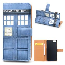 Police Box Leather Wallet Case for iPhone 7 Plus (5.5 inch)