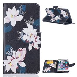 Black Lily Leather Wallet Case for iPhone 7 Plus (5.5 inch)