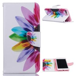 Seven-color Flowers Leather Wallet Case for iPhone 7 Plus (5.5 inch)