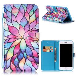 Colorful Lotus Leather Wallet Case for iPhone 7 Plus (5.5 inch)