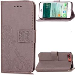 Embossing Imprint Four-Leaf Clover Leather Wallet Case for iPhone 7 Plus (5.5 inch) - Gray