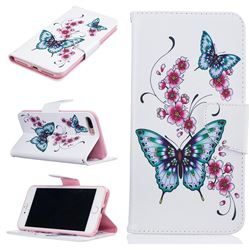 Peach Butterflies Leather Wallet Case for iPhone 7 Plus (5.5 inch)