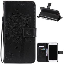 Embossing Butterfly Tree Leather Wallet Case for iPhone 7 Plus (5.5 inch) - Black