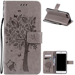 Embossing Butterfly Tree Leather Wallet Case for iPhone 7 Plus (5.5 inch) - Grey