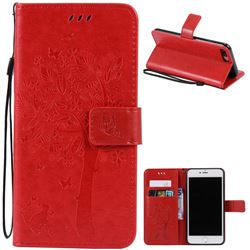 Embossing Butterfly Tree Leather Wallet Case for iPhone 7 Plus (5.5 inch) - Red