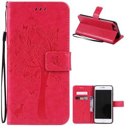 Embossing Butterfly Tree Leather Wallet Case for iPhone 7 Plus (5.5 inch) - Rose
