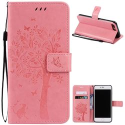 Embossing Butterfly Tree Leather Wallet Case for iPhone 7 Plus (5.5 inch) - Pink