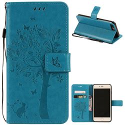 Embossing Butterfly Tree Leather Wallet Case for iPhone 7 Plus (5.5 inch) - Blue