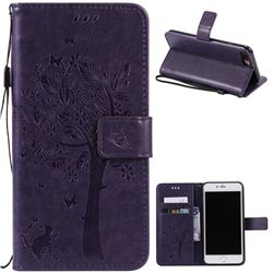 Embossing Butterfly Tree Leather Wallet Case for iPhone 7 Plus (5.5 inch) - Purple