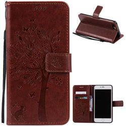 Embossing Butterfly Tree Leather Wallet Case for iPhone 7 Plus (5.5 inch) - Brown