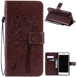 Embossing Butterfly Tree Leather Wallet Case for iPhone 7 Plus (5.5 inch) - Coffee