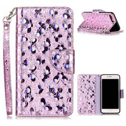 Luxury Laser Butterfly Optical Maser Leather Wallet Case for iPhone 7 Plus 7P(5.5 inch) - Purple