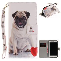 Pug Dog Hand Strap Leather Wallet Case for iPhone 7 Plus 7P(5.5 inch)