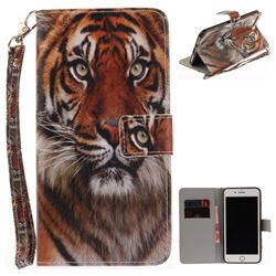 Siberian Tiger Hand Strap Leather Wallet Case for iPhone 7 Plus 7P(5.5 inch)