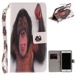 Cute Monkey Hand Strap Leather Wallet Case for iPhone 7 Plus 7P(5.5 inch)