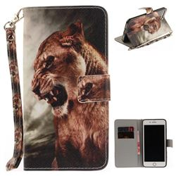 Majestic Lion Hand Strap Leather Wallet Case for iPhone 7 Plus 7P(5.5 inch)