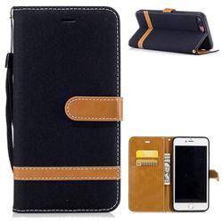 Jeans Cowboy Denim Leather Wallet Case for iPhone 7 Plus 7P(5.5 inch) - Black