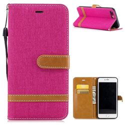 Jeans Cowboy Denim Leather Wallet Case for iPhone 7 Plus 7P(5.5 inch) - Rose