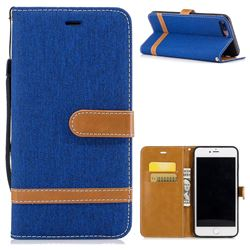 Jeans Cowboy Denim Leather Wallet Case for iPhone 7 Plus 7P(5.5 inch) - Sapphire