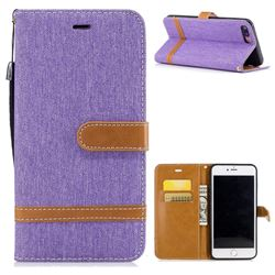 Jeans Cowboy Denim Leather Wallet Case for iPhone 7 Plus 7P(5.5 inch) - Purple