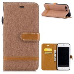 Jeans Cowboy Denim Leather Wallet Case for iPhone 7 Plus 7P(5.5 inch) - Brown