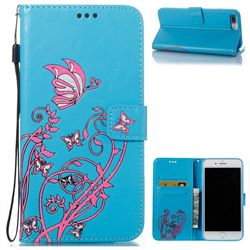 Embossing Narcissus Butterfly Leather Wallet Case for iPhone 7 Plus 7P(5.5 inch) - Blue