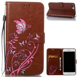 Embossing Narcissus Butterfly Leather Wallet Case for iPhone 7 Plus 7P(5.5 inch) - Brown