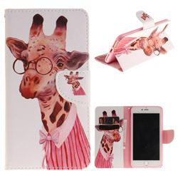 Pink Giraffe PU Leather Wallet Case for iPhone 7 Plus 7P(5.5 inch)