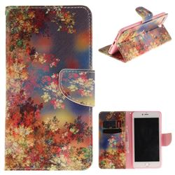 Colored Flowers PU Leather Wallet Case for iPhone 7 Plus 7P(5.5 inch)