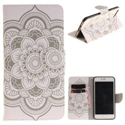 White Flowers PU Leather Wallet Case for iPhone 7 Plus 7P(5.5 inch)