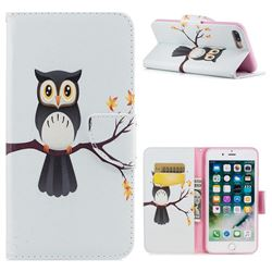 Owl on Tree Leather Wallet Case for iPhone 7 Plus 7P(5.5 inch)