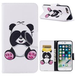 Lovely Panda Leather Wallet Case for iPhone 7 Plus 7P(5.5 inch)