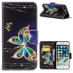 Golden Shining Butterfly Leather Wallet Case for iPhone 7 Plus 7P(5.5 inch)