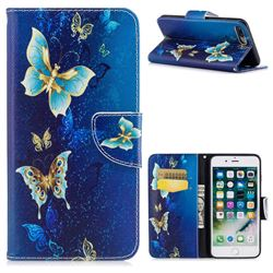 Golden Butterflies Leather Wallet Case for iPhone 7 Plus 7P(5.5 inch)