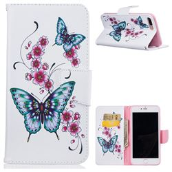 Peach Butterfly Leather Wallet Case for iPhone 7 Plus 7P(5.5 inch)