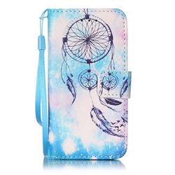 Blue Campanula Leather Wallet Case for iPod touch iTouch 5 6