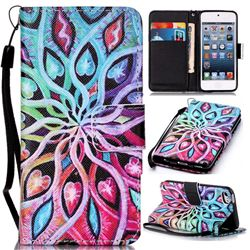 Spreading Flowers Leather Wallet Phone Case for iPod touch iTouch 5 6