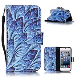 Blue Feather Leather Wallet Phone Case for iPod Touch 5 6