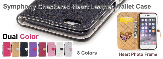 Wholesale Symphony Checkered Dual Color PU Heart Leather Wallet Case