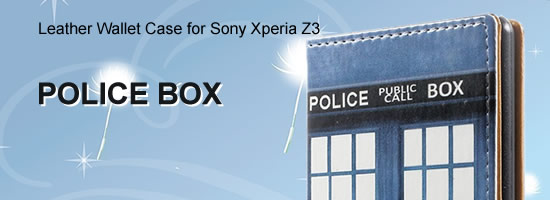 Wholesale Police Box Leather Wallet Case for Sony Xperia Z3