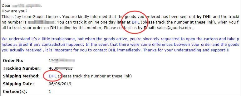 Find the tracking number and link in the email received from guuds.com
